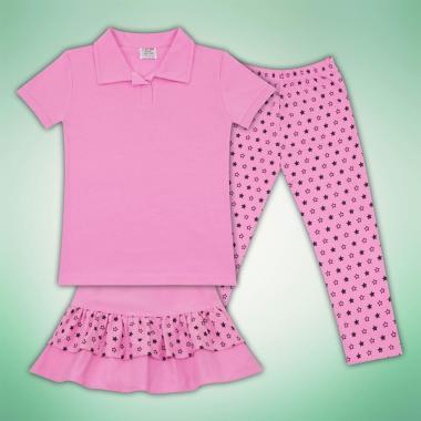 Комплект блузка пола и клин на звезди в розово