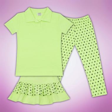 Комплект блузка  пола и клин на звезди в резеда