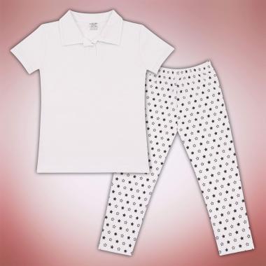 Комплект блузка и клин на звезди в бяло