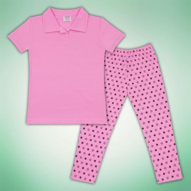 Комплект блузка и клин на звезди в розово