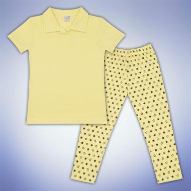 Комплект блузка и клин на звезди в жълто