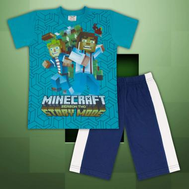 Комплект тениска и бермуди Майнкрафт морско синьо