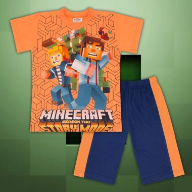 Комплект тениска и бермуди Майнкрафт  синьо