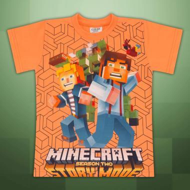Тениска Майнкрафт в оранжево