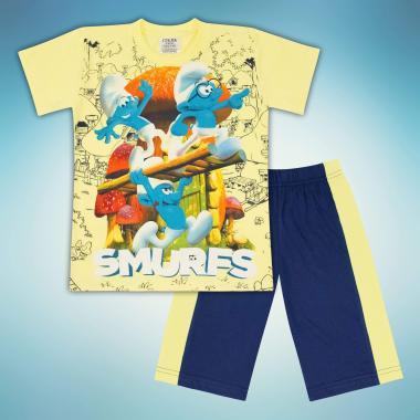 Комплект тениска и бермуди Смърфове в жълто