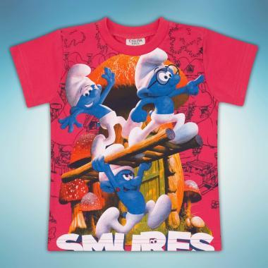 Тениска Смърфове в корал