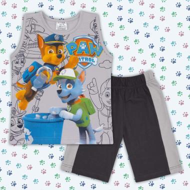 Комплект тениска без ръкав и бермуди Пес Патрул в сиво