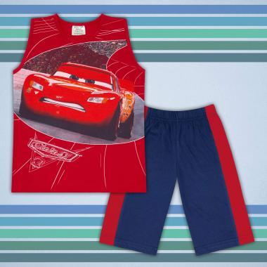 Комплект тениска без ръкав и бермуди Маккуин в червено