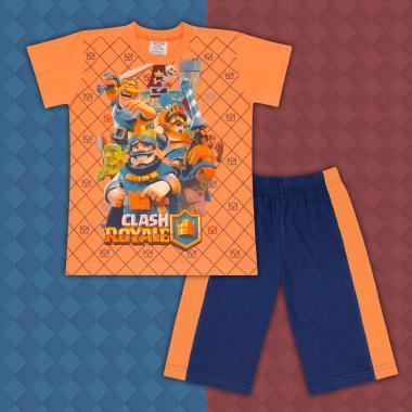 Комплект тениска и бермуди Клаш Роял оранжево