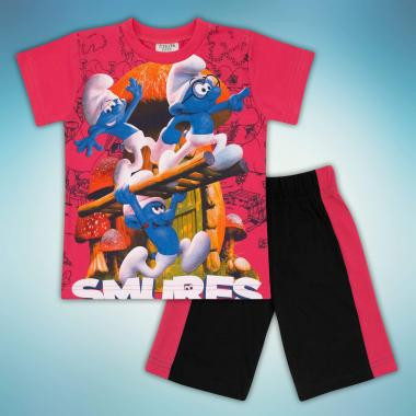 Комплект тениска и бермуди Смърфове в корал