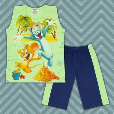 Комплект тениска без ръкав и бермуди Том и Джери в резеда