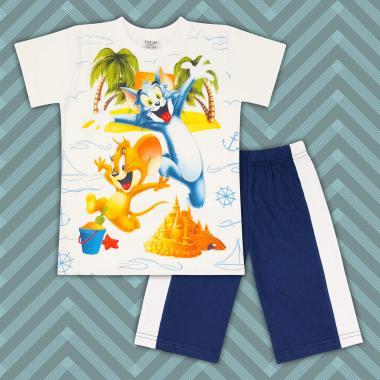 Комплект тениска и бермуди Том и Джери в екрю