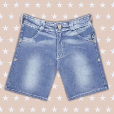 Дънков панталон 3/4 за момиче в цвят деним