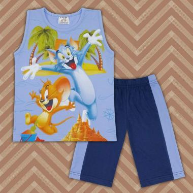 Комплект тениска без ръкав и бермуди Том и Джери в синьо