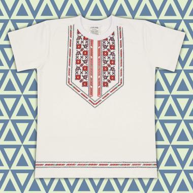 Тениска с фолклорни мотиви в екрю