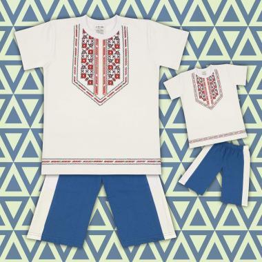 Комплект тениска и бермуди с фолклорни мотиви в екрю