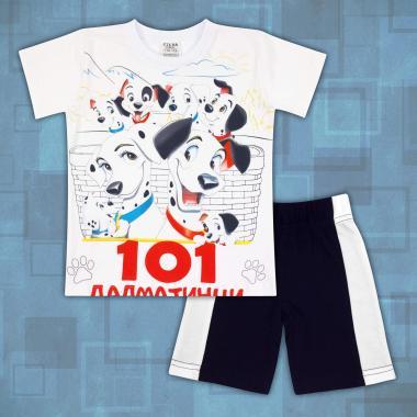Комплект тениска и бермуди 101 далматинци в бяло