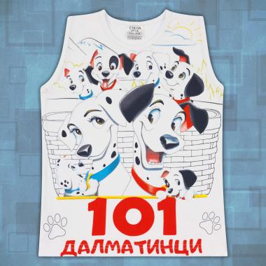 Тениска без ръкав 101 далматинци в бяло