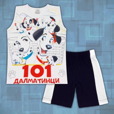 Комплект тениска без ръкав и бермуди 101 далматинци в бяло