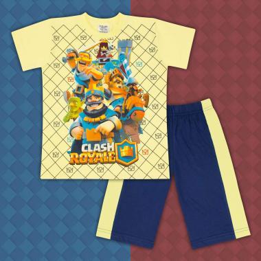 Комплект тениска и бермуди Клаш Роял жълто