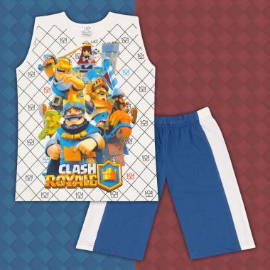 Комплект тениска без ръкав и бермуди Клаш Роял в екрю