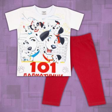 Комплект тениска 101 далматинци и клин в бяло и червено