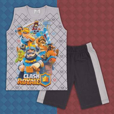 Комплект тениска без ръкав и бермуди Клаш Роял в сиво