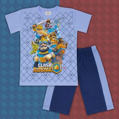 Комплект тениска и бермуди Клаш Роял синьо