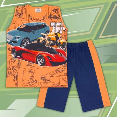 Комплект тениска без ръкав и бермуди GTA в оранжево