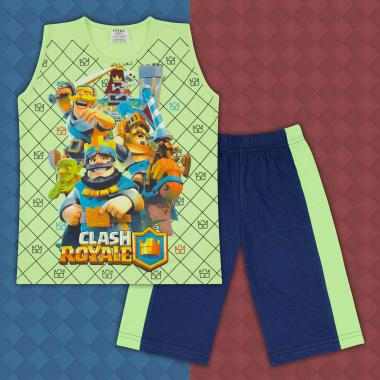 Комплект тениска без ръкав и бермуди Клаш Роял в резеда
