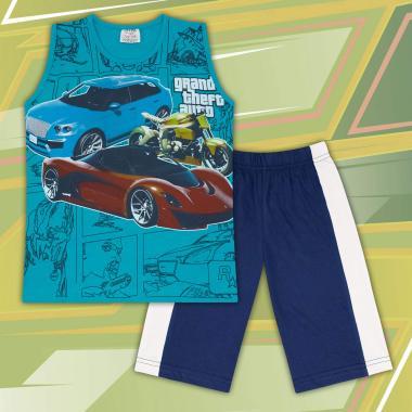Комплект тениска без ръкав и бермуди GTA в морско синьо