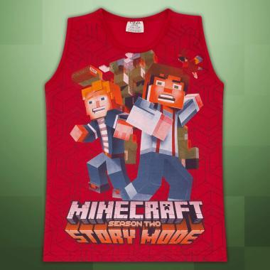 Тениска без ръкав Майнкрафт в червено