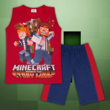 Комплект тениска без ръкав и бермуди Майнкрафт в червено