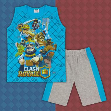Комплект тениска без ръкав и бермуди Клаш Роял в наситено синьо