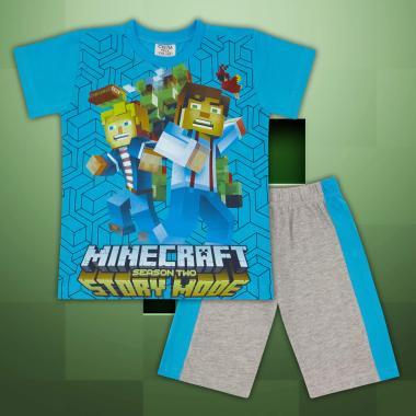 Комплект тениска и бермуди Майнкрафт-в-наситено синьо