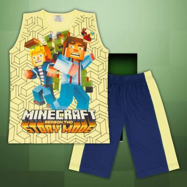 Комплект тениска без ръкав и бермуди Майнкрафт в жълто