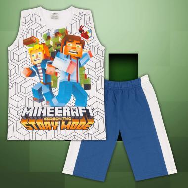 Комплект тениска без ръкав и бермуди Майнкрафт в бяло
