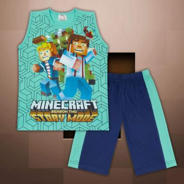 Комплект тениска без ръкав и бермуди Майнкрафт в мента