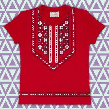 Блуза с къс ръкав с фолклорен мотиви в червено