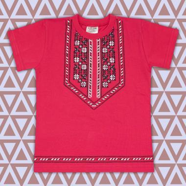 Тениска  с фолклорни мотиви в  корал