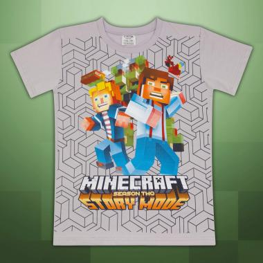 Тениска Майнкрафт в сиво