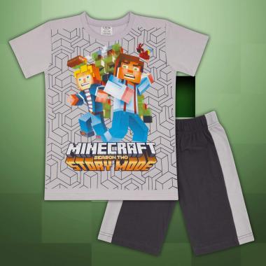 Комплект тениска и бермуди Майнкрафт  в сиво