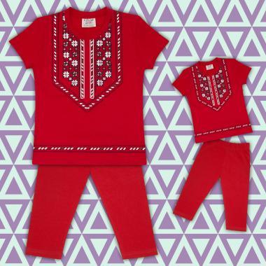 Комплект блузка с фолклорни мотиви и клин  в червено