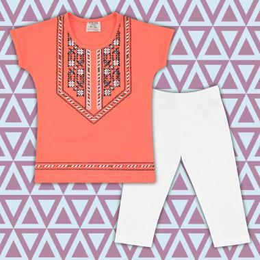 Комплект блузка с фолклорни мотиви и клин  в праскова