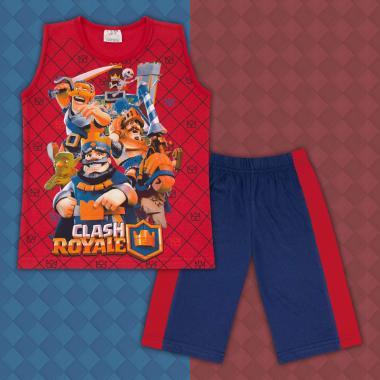 Комплект тениска без ръкав и бермуди  Клаш Роял в червено