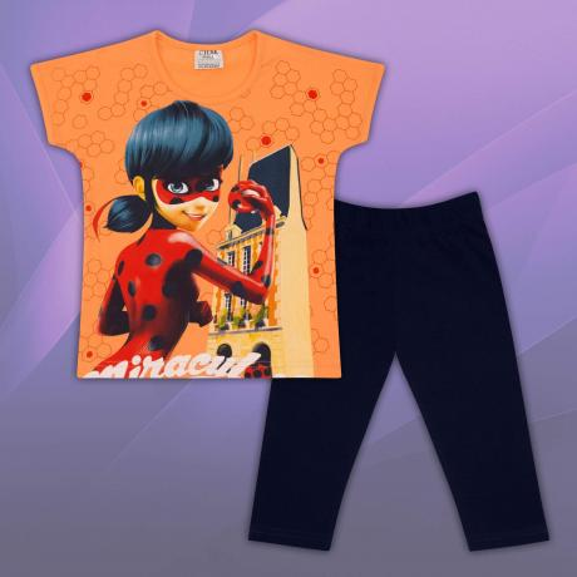 Комплект блузка и клин Калинка и котарака в оранжево
