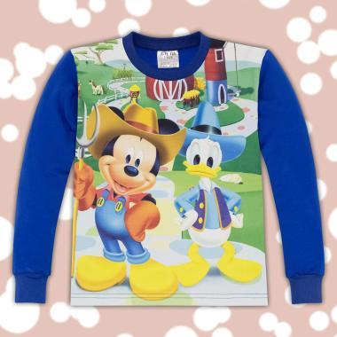 блуза с дълъг ръкав Мики Маус в синьо