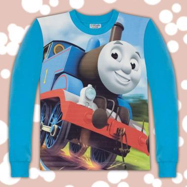 блуза с дълъг ръкав влакчето Томас  в наситено синьо