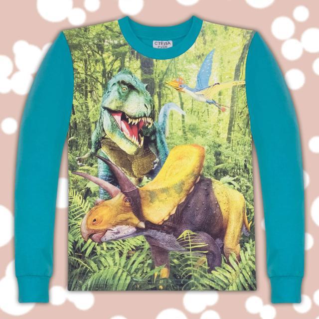блуза дълъг ръкав с Динозаври в морско синьо
