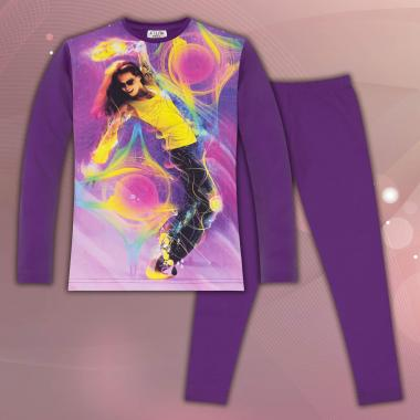 комплет блуза с клин танцуващо момиче в лилаво